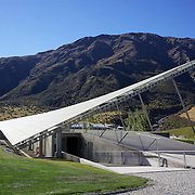 The Peregrine Winery roof at Peregrine Winery. Central Otago..Peregrine Wines is located in the Gibbston region of Central Otago – just an easy 20 minute drive from Queenstown, deep in the heart of the South Island of New Zealand, growing premium Pinot Noir and white varieties from their estate managed vineyards. 23rd March  2011, Photo Tim Clayton..