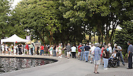 A line forms as people head to watch Ticket to Ride  perfom at the Fraze Pavilion, Tuesday, August 11, 2009.
