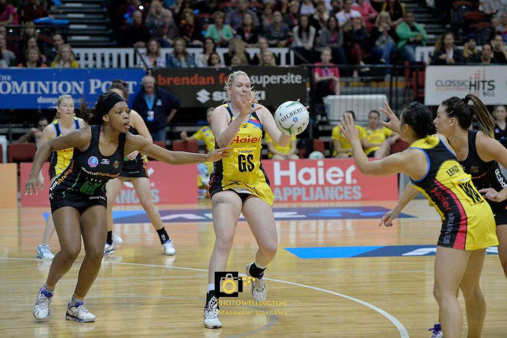 ANZ Championship 2013 Haier Pulse v West Coast Fever at TSB Bank Arena, Wellington, New Zealand Sunday 26 May 2013.<br /> Photo by Masanori Udagawa.<br /> www.photowellington.photoshelter.com.