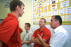 Alexey Peskov and Edi Koksarov and Mijo Zorko at press conference of handball club RK Celje Pivovarna Lasko before new season 2008/2009, on September 2, 2008 in Celje, Slovenia. (Photo by Vid Ponikvar / Sportal Images)