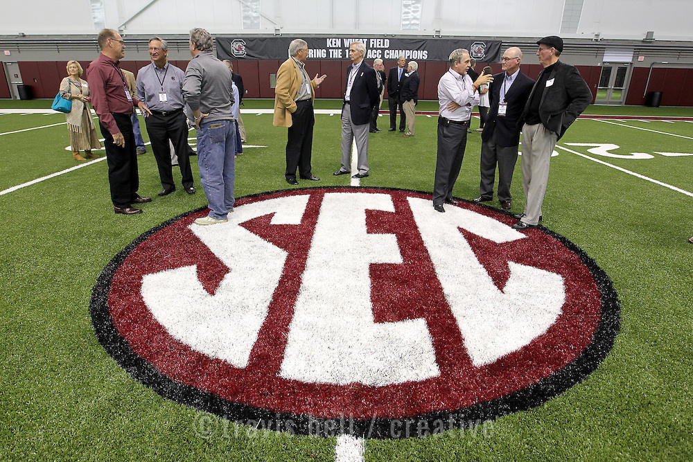 Former South Carolina Gamecock football players gather to celebrate the opening of the new indoor football facility in Columbia, S.C. ©Travis Bell Photography