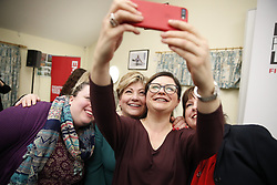 © Licensed to London News Pictures. 17/01/2020. Guildford, UK. Shadow Foreign Secretary Emily Thornberry poses for a selfie as she launches her Labour Party leadership campaign in her home town of Guldford in Surrey. Ms Thornberry will join the four other candidates in Liverpool tomorrow for the first of 12 official leadership hustings. Photo credit: Peter Macdiarmid/LNP