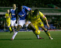 Leeds attacker Richard Cresswell (right) attacks Birmingham defender Bruno N'Gotty