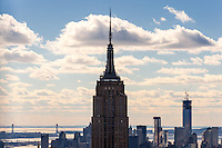 US, New York City. View from Top of the Rock Observation Deck, 30 Rockefeller Plaza. Empire State Building.