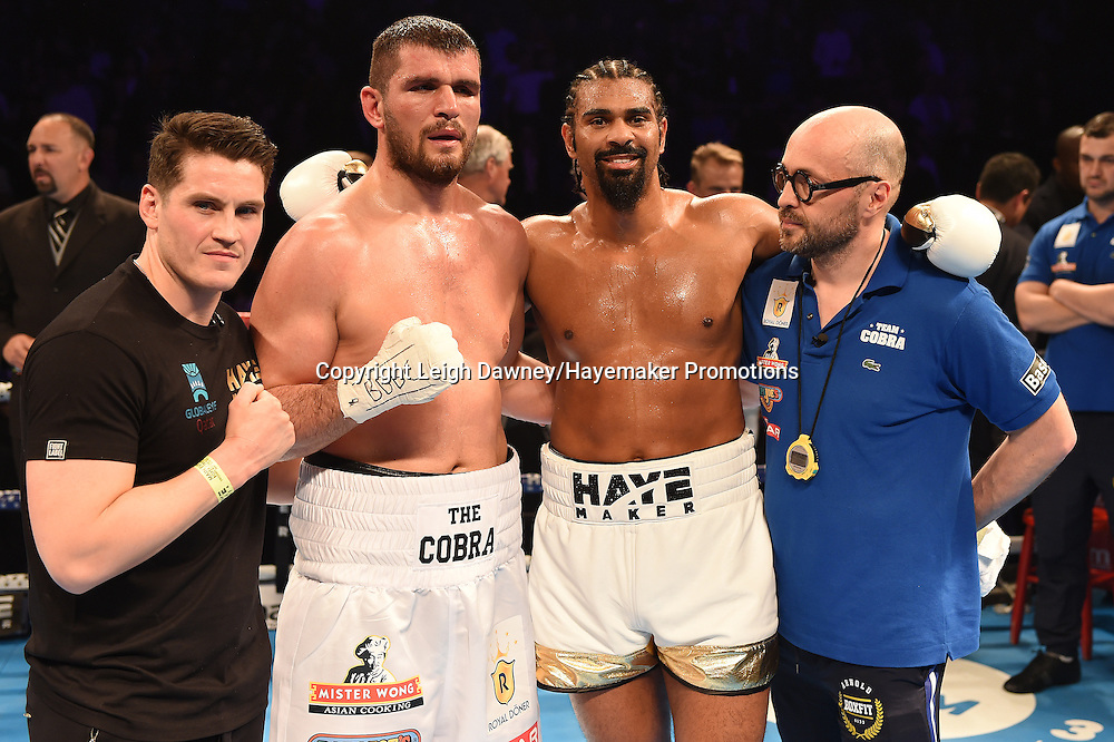 David Haye and Arnold Gjergjaj with trainers after Haye won the heavyweight contest at the 02 Arena, London on the 21st May 2016. Photo credit: Leigh Dawney/Hayemaker Promotions