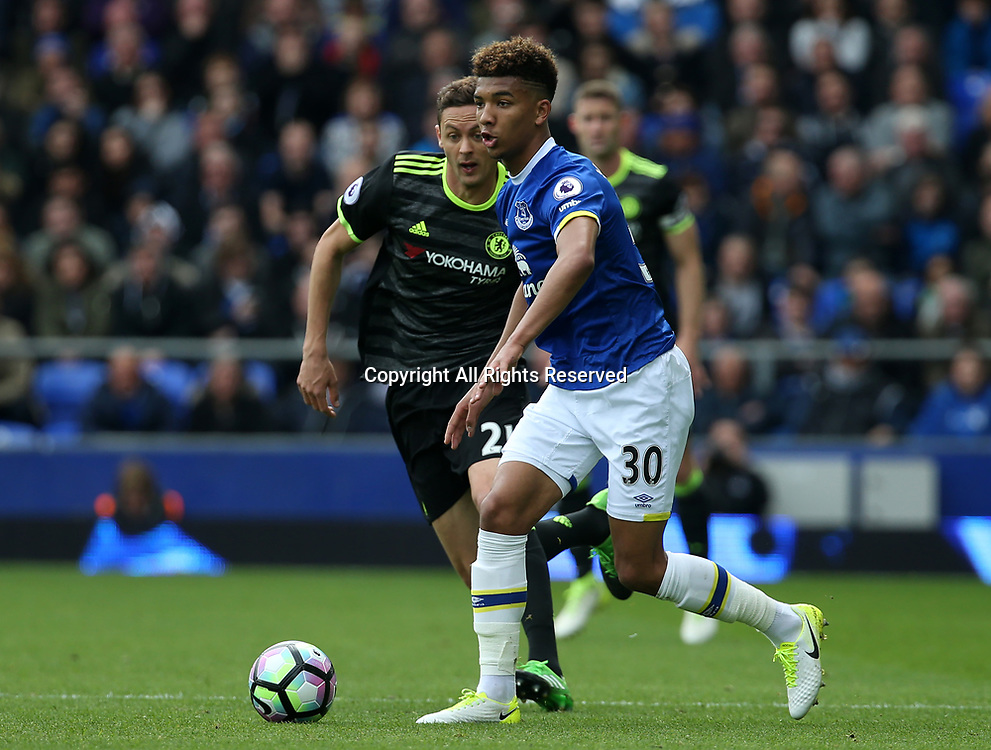 April 30th 2017, Goodison Park, Liverpool, England; EPL Premier league football, Everton versus Chelsea; Mason Holgate of Everton in possession tracked by Nemanja Matic of Chelsea