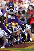Minnesota Vikings wide receiver Adam Thielen (19) plays leap frog with teammates in the end zone as he celebrates after catching a 7 yard touchdown pass good for a 21-17 second quarter Vikings lead during the 2017 NFL week 10 regular season football game against the Washington Redskins, Sunday, Nov. 12, 2017 in Landover, Md. The Vikings won the game 38-30. (©Paul Anthony Spinelli)