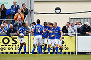 Eastleigh Players Celebrate after Eastleigh Forward, Matt Tubbs (10) scores a goal 1-1 during the Vanarama National League match between Eastleigh and Wrexham FC at Arena Stadium, Eastleigh, United Kingdom on 29 April 2017. Photo by Adam Rivers.