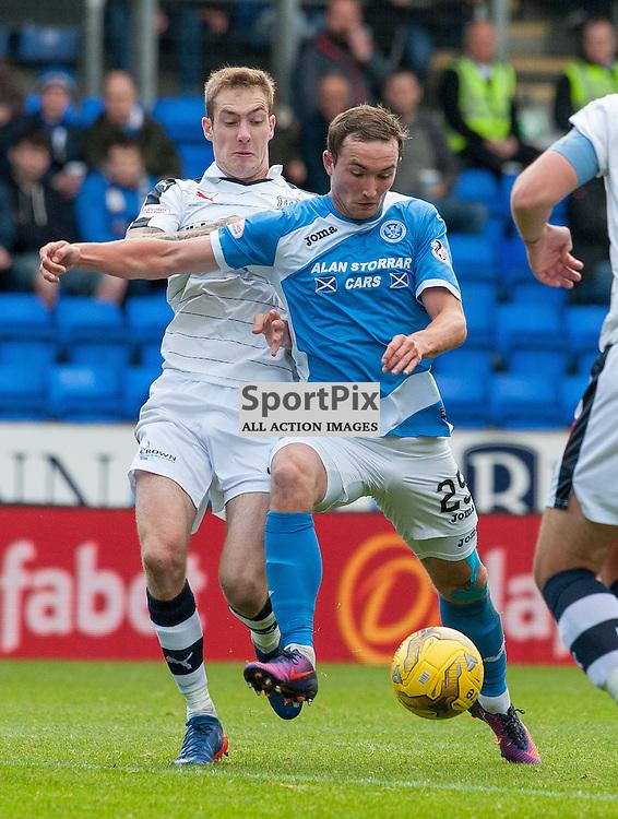 #3 Kevin Holt (Dundee) and #25 Chris Kane (St Johnstone) - St Johnstone v Dundee - Ladbrokes Premiership - 23 October 2016 - © Russel Hutcheson | SportPix.org.uk