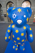 Teddy-Summer2005 in Zurich, Switzerland. .Eurobear, Bahnhofstrasse..After the success of the summer events in recent years - the cows in 1998 and benches in 2001, the city of Zurich is continuing the tradition this year with «Teddy Summer 2005». From May 23rd until September 18th around 630 teddies - small, large, in groups, sitting or standing and creatively decorated by various artists will make their mark on the city of Zurich and the airport Zurich-Kloten. With the choice of the teddy bear as subject for this years project, they have found a symbol recognized and loved by young and old. Although he's over 100 years old, Teddy moves with the times and his cuddly figure continues to capture the hearts of people the world over.