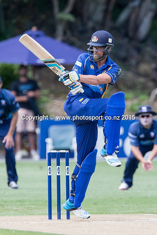 Volts` Sam Wells bats in the Auckland Aces v Otago Volts, One Day Ford Trophy Cricket Match, Eden Park, Auckland, New Zealand, Friday, January 02, 2015. Photo: David Rowland/Photosport