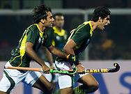 BHUBANESWAR (India) -  Hero Champions Trophy hockey men. Semifinal India vs Pakistan.  Muhammad Arlsan Qadir (r)  of Pakistan scored. Photo Koen Suyk