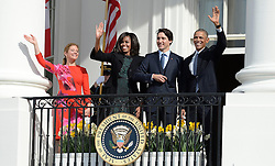 United States President Barack Obama, right, First Lady Michelle Obama, left center, and Prime Minister Justin Trudeau of Canada, right center, and and Mrs. Sophie Grégoire Trudeau, left, wave from the South Portico of the White House following an Arrival Ceremony in Washington, DC on Thursday, March 10, 2016. EXPA Pictures © 2016, PhotoCredit: EXPA/ Photoshot/ Olivier Douliery<br /> <br /> *****ATTENTION - for AUT, SLO, CRO, SRB, BIH, MAZ, SUI only*****