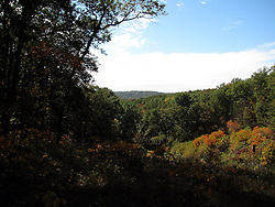 10 Oct 2011: Spectacular view of Brown County showing the colors of autumn.  Rural Indiana, specifically in or close to Brown County.
