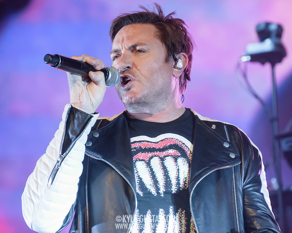 Simon Le Bon of Duran Duran performs at the Verizon Center as part of their Paper Gods tour.