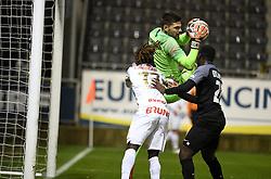 December 23, 2018 - France - Dieumerci Ndongala forward of Genk , Hendrik Van Crombrugge goalkeeper of Eupen (Credit Image: © Panoramic via ZUMA Press)