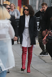 Mila Kunis arrives to Jimmy Kimmel in thigh-high red boots. 30 Oct 2017 Pictured: Mila Kunis. Photo credit: PressPhotoBank / MEGA TheMegaAgency.com +1 888 505 6342