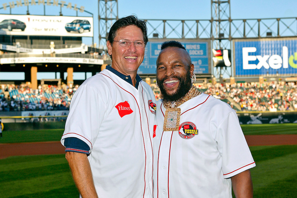 CHICAGO - JULY 22:  Actor Mr. T poses for a photo with baseball Hall of Famer Carlton Fisk prior to the game on July 22, 2005 at U.S. Cellular Field in Chicago, Illinois.  (Photo by Ron Vesely)