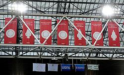 17-09-2015 NED: UEFA Europa League AFC Ajax - Celtic FC, Amsterdam<br /> Ajax heeft in zijn eerste duel in de Europa League thuis moeizaam met 2-2 gelijkgespeeld tegen Celtic / Arena met de vlaggen van kampioenschappen