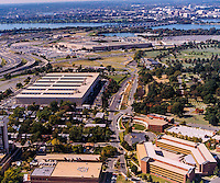 Aerial view of the Navy Annex and Pentagon along with Potomac RIver and Washington DC in Background. Arlington Virginia.