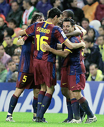 25.09.2010, San Mames, Bilbao, ESP, Primera Division, Athletic Bilbao vs FC Barcelona, im Bild FC Barcelona's Carles Puyol, Sergio Busquets, Xavi Hernandez and Seydou Keita celebrate goal during La Liga match. EXPA Pictures © 2010, PhotoCredit: EXPA/ Alterphotos/ Acero +++++ ATTENTION - OUT OF SPAIN / ESP +++++