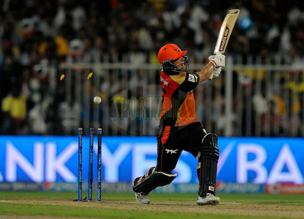 Aaron Finch of the Sunrisers Hyderabad gets bowled out by Mohit Sharma of The Chennai Superkings during match 16 of the Pepsi Indian Premier League 2014 between the Delhi Daredevils and the Mumbai Indians held at the Sharjah Cricket Stadium, Sharjah, United Arab Emirates on the 27th April 2014<br /> <br /> Photo by Pal Pillai / IPL / SPORTZPICS
