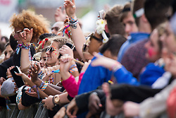 © Licensed to London News Pictures . 06/06/2015. Manchester , UK . Crowd in front of the Main Stage for Wu Tang Clan at The Parklife 2015 music festival in Heaton Park , Manchester . Photo credit : Joel Goodman/LNP
