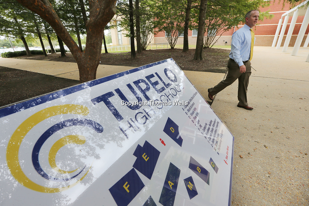 First year Tupelo High School Principal Art Dobbs makes his way across campus on Wednesday as he settles into his new role in the Tupelo public School District.