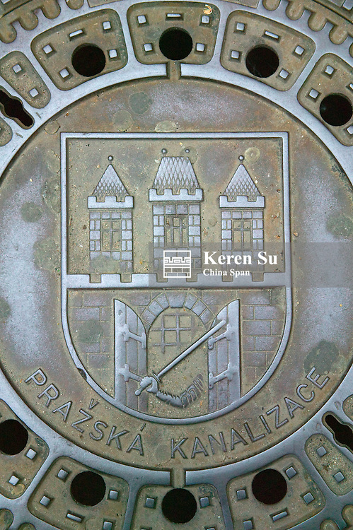 Sewer cover with painting, Old Town Square, Prague, Czech Republic