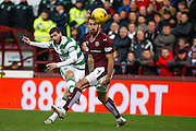 Celtic FC Forward Nadir Ciftci hits the shot during the Ladbrokes Scottish Premiership match between Heart of Midlothian and Celtic at Tynecastle Stadium, Gorgie, Scotland on 27 December 2015. Photo by Craig McAllister.
