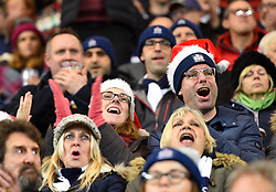 Festive Bristol Rugby supporters applaud as the players run out at Ashton Gate Stadium - Mandatory by-line: Paul Knight/JMP - 22/12/2017 - RUGBY - Ashton Gate Stadium - Bristol, England - Bristol Rugby v Cornish Pirates - Greene King IPA Championship