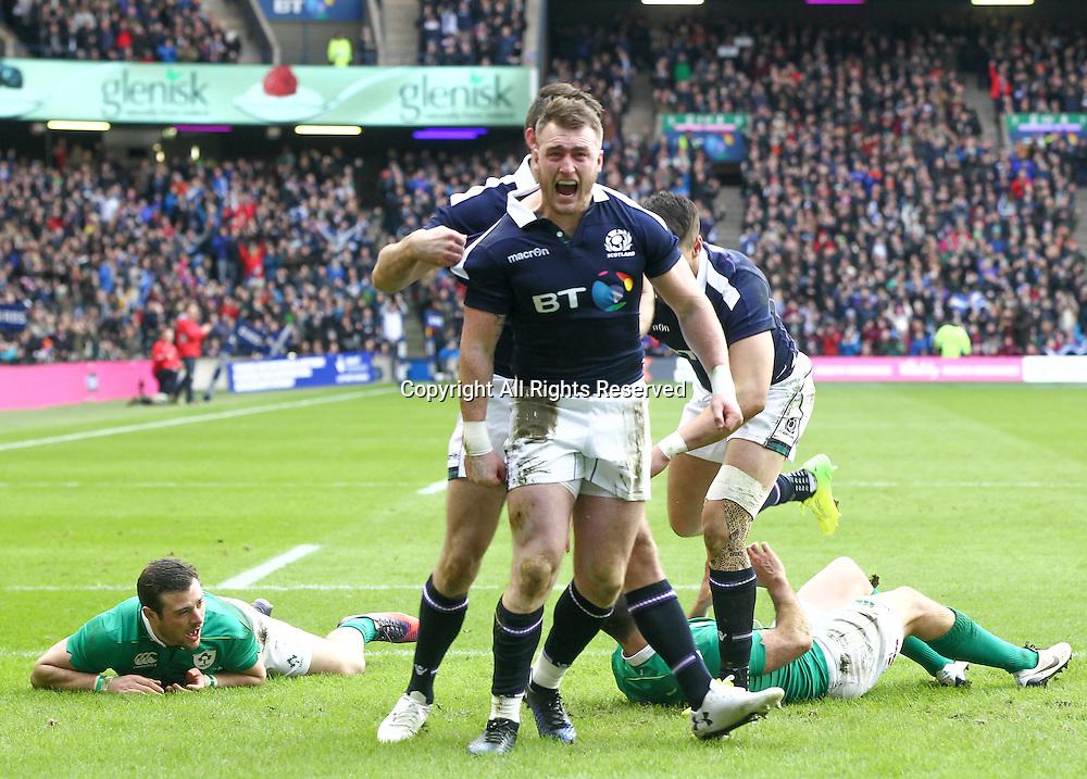 February 4th 2017, Murrayfield, Edinburgh, Scotland; 6 Nations International rugby, Scotland versus Ireland;  Scotlands Stuart Hogg celebrates his scoring  the first try