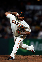 SAN FRANCISCO, CA - AUGUST 13: Reyes Moronta #54 of the San Francisco Giants pitches against the Oakland Athletics during the eighth inning at Oracle Park on August 13, 2019 in San Francisco, California. The San Francisco Giants defeated the Oakland Athletics 3-2. (Photo by Jason O. Watson/Getty Images) *** Local Caption *** Reyes Moronta