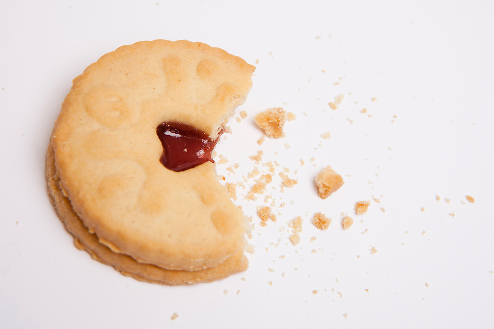 A Jammy Dodger Biscuit with a bite out of it.