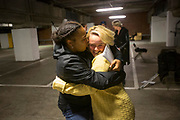 Cast members Ishara Bilson-Graham (left) and Jade O'Sullivan (right) embrace during rehearsals in an underground car park, where the performance will be held.<br /> The full-scale production, which runs from 8th Nov - 2nd of Dec 2017 under Smithfield Meat Market, has been put together by charity The Big House, a charity that helps troubled youths who have been in care.