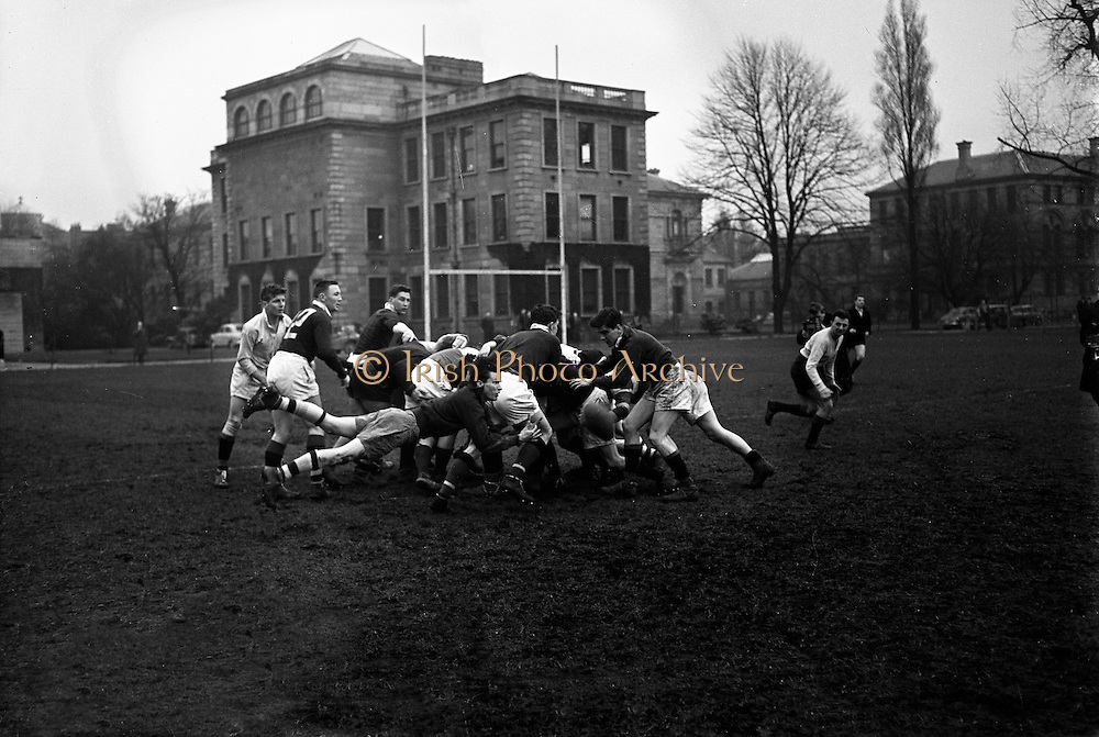 Irish Rugby Football Union, Ireland v Wales, Five Nations, Irish team practice, Dublin, Ireland, Friday 14th March, 1958,.14.3.1958, 3.14.1958,.  .Irish Team, ..J G M W Murphy, Wearing number 15 Irish jersey, Full Back, London Irish Rugby Football Club, Surrey, England, ..A J O'Reilly, Wearing number 14 Irish jersey, Right Wing, Old Belvedere Rugby Football Club, Dublin, Ireland,  ..N J Henderson, Wearing number 13 Irish jersey, Captain of the Irish team, Right centre, N.I.F.C, Rugby Football Club, Belfast, Northern Ireland, ..D Hewitt, Wearing number 12 Irish jersey, Left centre, Queens University Rugby Football Club, Belfast, Northern Ireland,..A C Pedlow, Wearing number 11 Irish jersey, Left wing,  C I Y M S Rugby Football Club, Belfast, Northern Ireland, ..M A English, Wearing number 10 Irish jersey, Outside Half, Bohemians Rugby Football Club, Limerick, Ireland, ..J A O'Meara, Wearing number 9 Irish jersey, Scrum Half, Dolphin Rugby Football Club, Cork, Ireland, ..P J O'Donoghue, Wearing  Number 1 Irish jersey, Forward, Bective Rangers Rugby Football Club, Dublin, Ireland, ..A R Dawson, Wearing number 2 Irish jersey, Forward, Wanderers Rugby Football Club, Dublin, Ireland, . .B G Wood, Wearing number 3 Irish jersey, Forward, Garryowen Rugby Football Club, Limerick, Ireland, ..J B Stevenson, Wearing number 4 Irish jersey, Forward, Instonians Rugby Football Club, Belfast, Northern Ireland,..W A Mulcahy, Wearing number 5 Irish jersey, Forward, University College Dublin Rugby Football Club, Dublin, Ireland, ..J A Donaldson, Wearing number 6 Irish jersey, Forward, Collegians Rugby Football Club, Belfast, Northern Ireland, ..J R Kavanagh, Wearing number 7 Irish jersey, Forward, Wanderers Rugby Football Club, Dublin, Ireland, ..N A Murphy, Wearing number 8 Irish jersey, Forward, Cork Constitution Rugby Football Club, Cork, Ireland,.