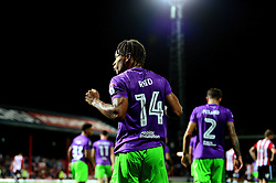 Bobby Reid of Bristol City celebrates scoring a goal in the last minute of the game  - Mandatory by-line: Dougie Allward/JMP - 15/08/2017 - FOOTBALL - Griffin Park - Brentford, England - Brentford v Bristol City - Sky Bet Championship