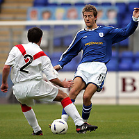 St Johnstone v Airdrie..23.10.04<br />Lee Hardy's run is stopped by Stephen Docherty<br /><br />Picture by Graeme Hart.<br />Copyright Perthshire Picture Agency<br />Tel: 01738 623350  Mobile: 07990 594431