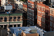 New York. elevated view on Soho . panoramic view on the roofs of Soho covered with water tank /  vue elevee sur les toits couverts de reservoirs d'eau de Soho  New York  USa