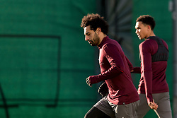 LIVERPOOL, ENGLAND - Monday, February 18, 2019: Liverpool's Mohamed Salah and Trent Alexander-Arnold during a training session at Melwood ahead of the UEFA Champions League Round of 16 1st Leg match between Liverpool FC and FC Bayern München. (Pic by Paul Greenwood/Propaganda)