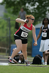 London, Ontario ---07/06/08--- Katie Klodnicki of Grimsby in Grimsby competes in the shot put at the 2008 OFSAA Track and Field meet in Hamilton, Ontario..Sean Burges