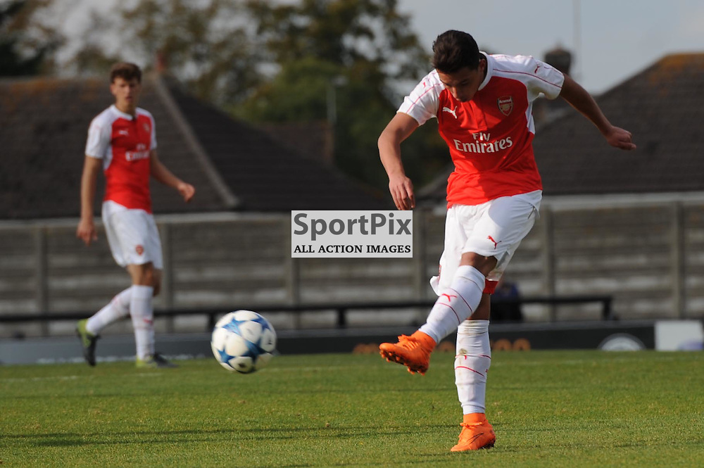 Arsenals Ismael Bennacer gets a shot away during the Arsenal u19 v Bayern Munich u19 match on Tuesday 20th October 2015 in the UEFA Youth League at Borehamwood