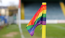 A general view of the Rainbow coloured corner flags at Rochdale is support of the Stonewall charity - Mandatory by-line: Joe Dent/JMP - 25/11/2017 - FOOTBALL - Crown Oil Arena - Rochdale, England - Rochdale v Peterborough United - Sky Bet League One