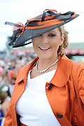 Finalist  in the Anthony Ryan best dressed competition Caroline Downey from Galway  at Ladies day of the Galway Races in Ballybrit. Photo:Andrew Downes