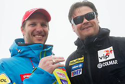 Andrej Jerman and Peter Pen during last race of Andrej Jerman, Slovenian best downhill skier when he finished his professional alpine ski career on April 6, 2013 in Krvavec Ski resort, Slovenia. (Photo By Vid Ponikvar / Sportida)