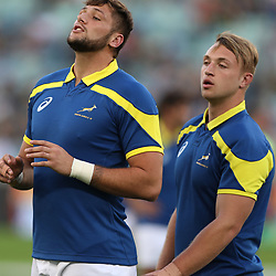DURBAN, SOUTH AFRICA - JUNE 16: Ruan Botha of South Africa A with Ruan Ackermann of South Africa A during the match between South Africa A and French Barbarians at Moses Mabhida Stadium on June 16, 2017 in Durban, South Africa. (Photo by Steve Haag/Gallo Images)