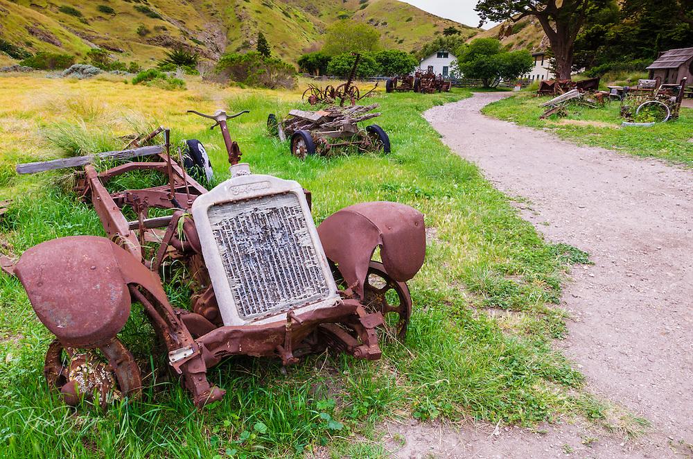 Historic equipment at Scorpion Ranch, Santa Cruz Island, Channel Islands National Park, California USA