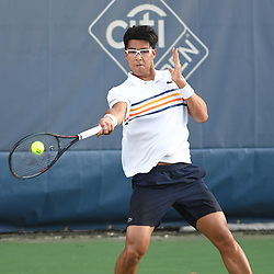 August 1, 2018 - Washington, D.C, U.S - HYEON CHUNG hits a forehand during his 2nd round match at the Citi Open at the Rock Creek Park Tennis Center in Washington, D.C. (Credit Image: © Kyle Gustafson via ZUMA Wire)
