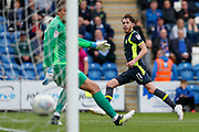 Carlisle United's Jamie Devitt shoots at goal and celebrates scores during the EFL Sky Bet League 2 match between Colchester United and Carlisle United at the Weston Homes Community Stadium, Colchester, England on 14 October 2017. Photo by Phil Chaplin