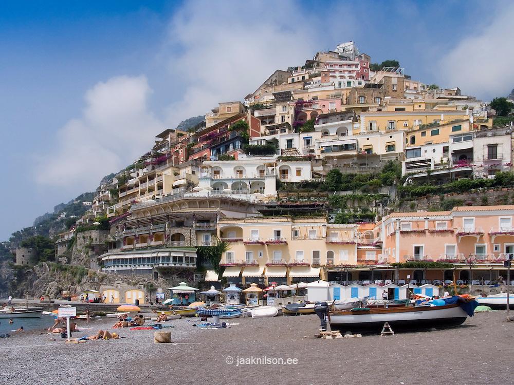 Positano beach with hillside buildings. Amalfi Coast, Campania, Italy, Europe, World Heritage Site.